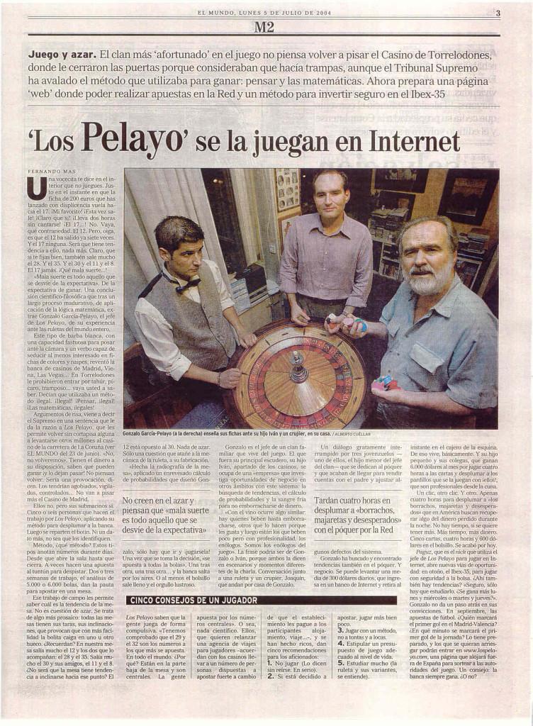 EL MUNDO 5 JULIO 2004 LOS PELAYOS SE LA JUEGAN EN INTERNET