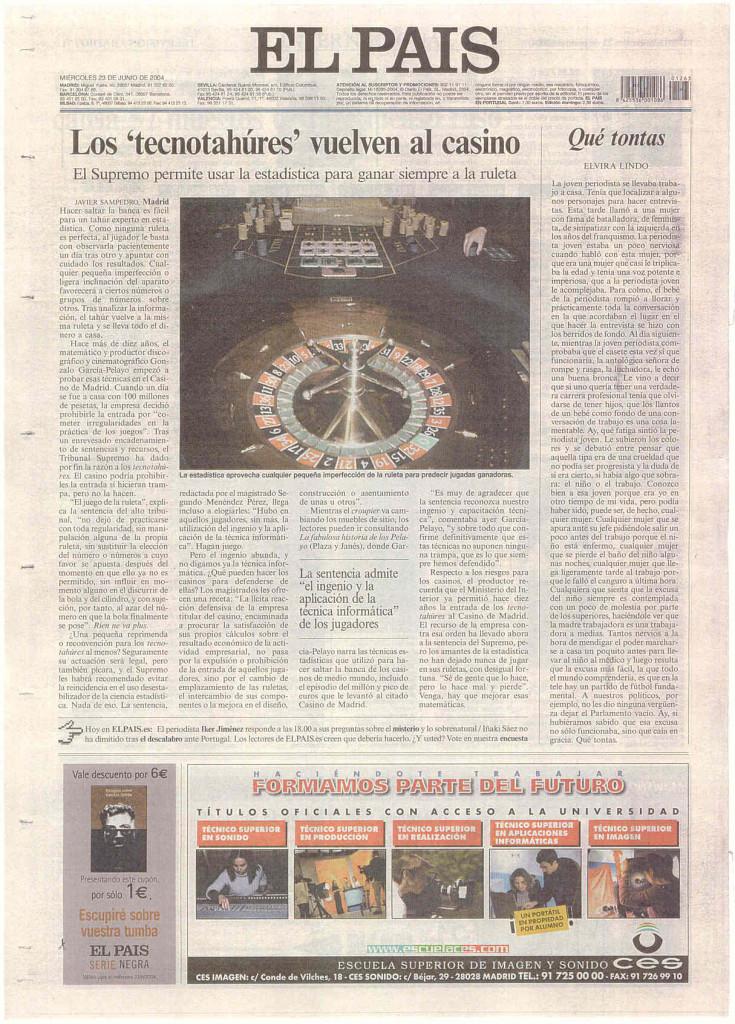 ELPAIS 23 JUNIO 2004 Los tecno tahúres vuelven al casino, sentencia del Tribunal Supremo