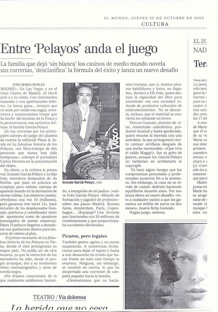 ENTRE PELAYOS ANDA EL JUEGO EL MUNDO 30 OCTUBRE 2003