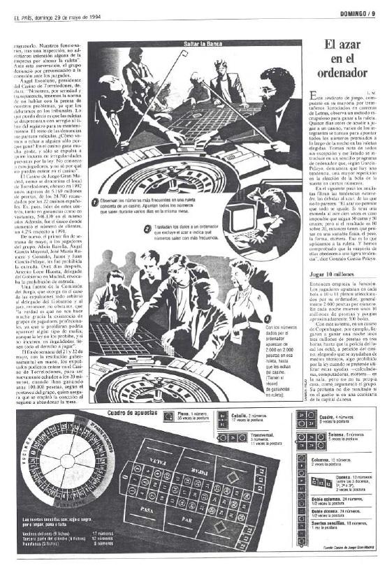 El País, primer articulo sobre Gonzalo García Pelayo y la ruleta