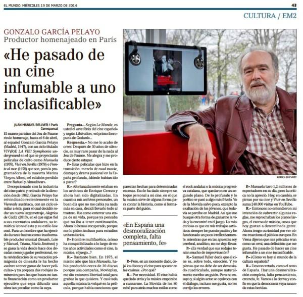 El mundo He pasado de un cine....Gonzalo García Pelayo