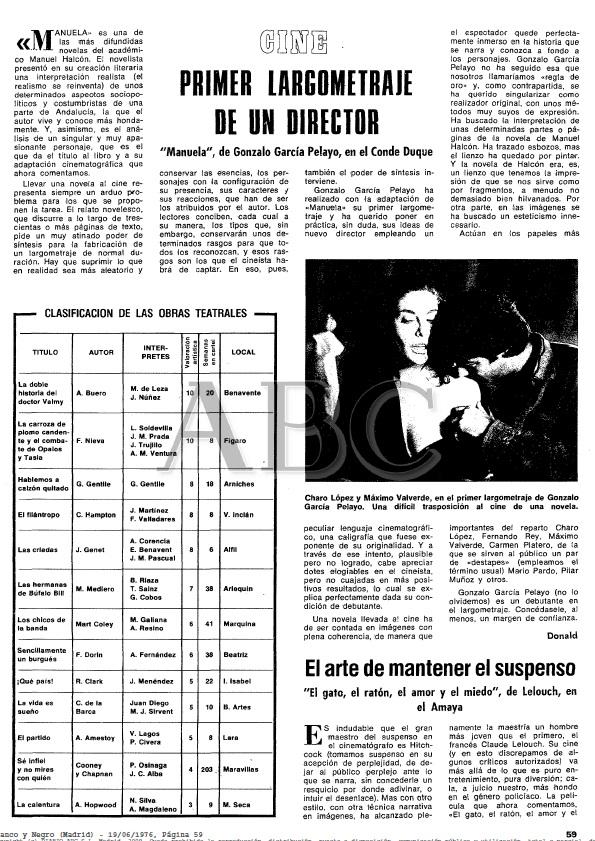 Manuela Primer largometraje de un director Gonzalo García Pelayo