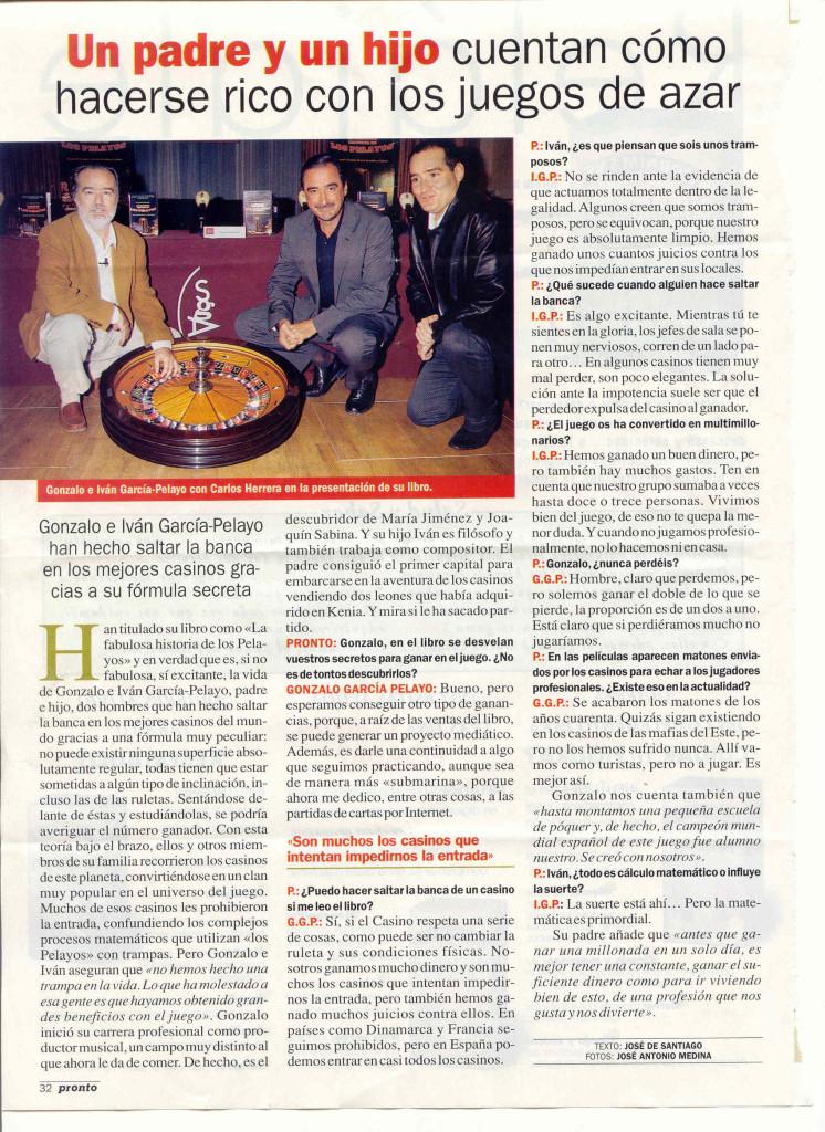 LOS PELAYOS UN PADRE Y UN HIJO PRONTO 4 NOVIEMBRE 2003
